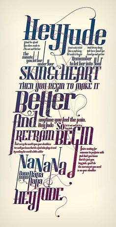 Really in love REALLY. music, type design, songs, a frame, hey jude, beatl, funny commercials, lyrics, poster designs