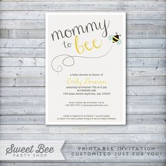 Bumble Bee Baby Shower Invitation - Printable File - Mommy to Bee - Gender Neutral - DIY - Customized - 5x7 JPEG or PDF on Etsy, $15.00