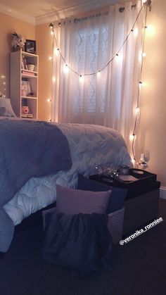 Bedroom decor/gray and pink decor/ white and gray bedroom/ Paris inspired/ diy ideas/ queen bed/ Christmas lights/ organized cubicles/ friends tv series lover/ cozy room/ beautiful simple decor/ how to organize a shelf/ bedroom diy/ basket diy/ basket with blanket and pillows/ basket decor/