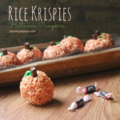 These Rice Krispies Halloween Pumpkins are a fun treat that kids will LOVE.  The best part?  They're easy to make!  Bring them to any Halloween Party or just make them for fun with the kiddos…