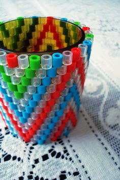 Woven perler bead tea light covers by s. jane | Flickr - Photo Sharing!