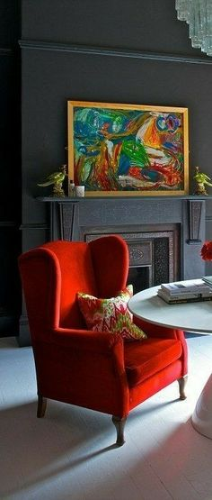 Red Home Decor, Accent Chairs, Rooms, Furniture, Color, Environment, Upholstered Chairs, Bedrooms, Colour