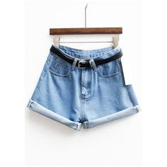 With Belt Cuffed Denim Shorts ($13) ❤ liked on Polyvore featuring shorts, romwe, denim, short, denim shorts, cuffed denim shorts, short shorts and denim short shorts