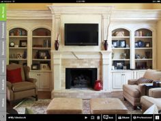 Mantle and bookcases