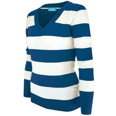 Cielo Women's Soft Contoured Horizontal Striped Pullover/cardigan... ($16) ❤ liked on Polyvore featuring tops, cardigans, pullover tops, sweater pullover, blue top, cardigan pullover and pullover cardigan