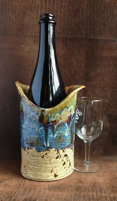 Stoneware Wine Chiller Wine Cooler Crock or Vase by LisaMelitaArt, $36.00