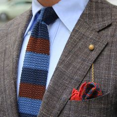 shibumi-berlin: Shibumi Navy/Blue/Brown Knit Tie and Orange Pocket Square
