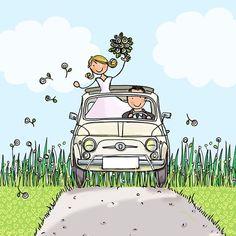 Witte Fiat 500 als trouwauto weddingillustration Happy Wedding Wishes, Happy Wedding Anniversary Wishes, Birthday Wishes, Wedding Illustration, Family Illustration, Wedding Paper, Wedding Cards, Wedding Gifts, Birthday Scripture