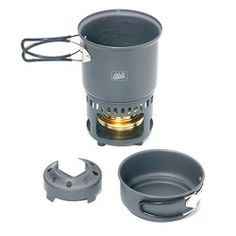 Really want a portable cook stve, not sure which one yet. Maybe an Esbit Lightweight Trekking Cook Set with Brass Alcohol Burner Stove and 2 Anodized Aluminum Pots Best Camping Gear, Camping Essentials, Kayak Camping, Survival Family, Ultralight Backpacking Gear, Hiking Gear, Outdoor Survival Gear, Bushcraft Gear, Spiritus