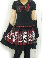 Sailor Collar Puff Sleeve Cut Sew Black x Red. See more at http://www.cdjapan.co.jp/apparel/deorart.html #harajuku #punk