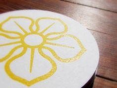 Yellow Magnolia Letterpress Coasters - Set of 6. $10.00