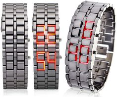 iron Samurai Wristwatch With Glowing 'Red Lava' Digits