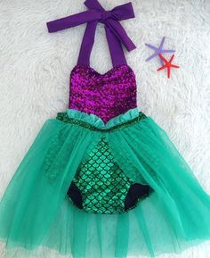Meromper mermaid romper tutu by EverAfterFairytales on Etsy Mermaid Theme Birthday, Little Mermaid Birthday, Little Mermaid Parties, The Little Mermaid, Girl Birthday, Birthday Ideas, Romper With Skirt, Under The Sea Party, Halloween Disfraces