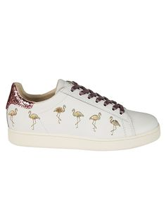 Flamingo Glitter Sneakers from MOA: White Flamingo Glitter Sneakers with flat rubber sole, lace-up front fastening, round toe, contrasting heel counter, branded insole and flamingo glittered design Flamingo Shoes, White Flamingo, Lace Up, Footwear, Glitter, Fancy, Style Inspiration, Heels, Women's Sneakers