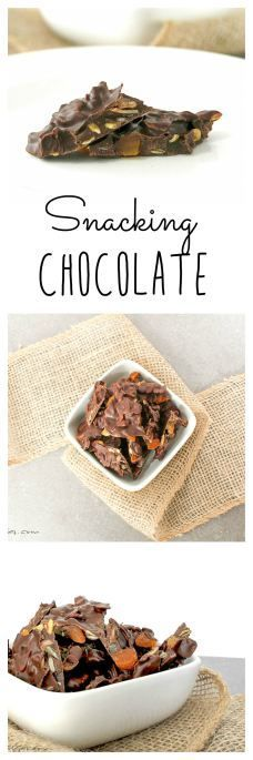 This healthy yet tasty snack combines the addictive dark chocolate with toasted pumpkin seeds and dried apricots!  Great to have on hand to curb cravings! Snacking Chocolate | Take Two Tapas