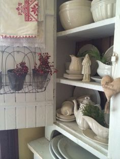 Rosehips in zinc pots with ironstone for Christmas ~ by Heartfelt Finds.