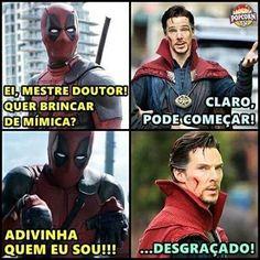 """Deadpool zoeirinho ataca novamente... #TimelineAcessível Tirinha: quadro 1 - Deadpool: """""""