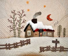 love the quilting in this as well as the design. not sure it's a Yoko Saito design though. Wool Applique Patterns, Applique Quilts, Quilt Patterns, Patchwork Quilt, Wool Quilts, Penny Rugs, Small Quilts, Mini Quilts, House Quilt Block