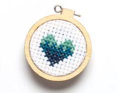 Miniature Embroidery Hoop, Aqua Heart, Blue Gradient