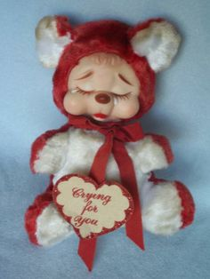 """Valentine Rushton Company Red Teddy Bear Crying Rubber Face Hang Tag Label 10"""" 