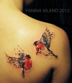 why do these great tattoo artists have to be in other countries?  Watercolor bird tattoo by Yanina Viland
