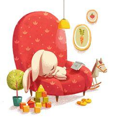 """bibliolectors: Little """"siesta"""" / Pequeña siesta (ilustración de Alena Tkach)"""