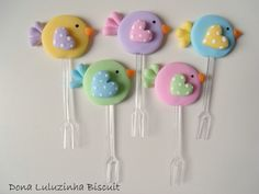 Fimo bird decorated appetizer fork