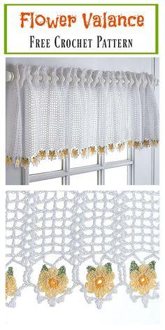 Flower Valance Window Curtain Free Crochet Pattern  #freecrochetpatterns #homedecor