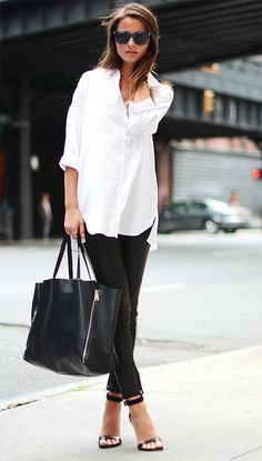 Just LOVE leggings + camisole + stilettos for business casual. Chic and simple.