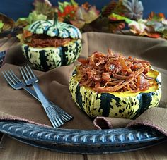 Maple Glazed Pulled Pork Stuffed Sweet Dumpling Squash