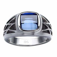 JAJAFOOK 9.5mm Blue and Black Carbon Fiber Stainless Steel Ring Wedding Band Polished Finish