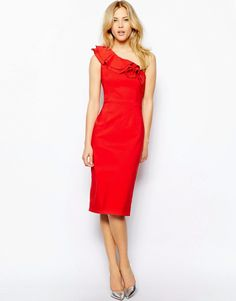 Tempest One Shoulder Midi Bodycon Dress Ruffle Detail in Red UK 12 Shoulder Sleeve, One Shoulder, Shoulder Dress, Red Ruffle Dress, Cocktail Attire, Pencil Dress, Girly Girl, Evening Gowns, Fashion Online