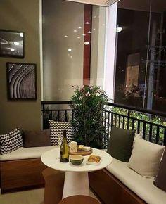 Interior Balcony, Balcony Furniture, Balcony Design, Interior Design Living Room, Outdoor Furniture Sets, Small Room Bedroom, Bedroom Decor, Colorful Apartment, Condo Design