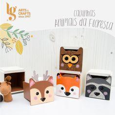 Caixinhas com animais para guardar pequenos brinquedos.