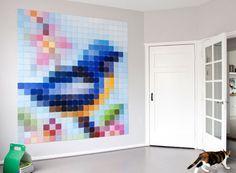 Bird shaped paint chip wall art Easy DIY Wall Art Ideas That Showcase Unexpected Design