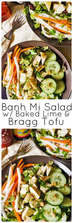 Vegan Banh Mi Salad w/ Baked Lime & Bragg Tofu - A bright and addictive salad for banh mi lovers and salad lovers alike. Not to mention the tofu lovers! Click for the recipe or pin this for later <3