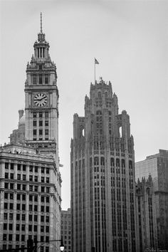 A Black and White shot of some gothic style architecture in the Chicago skyline. || #AlexTonettiPhotography #Photography