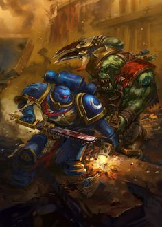 Ультра превозмогает орков,Wh Other,Warhammer 40000,warhammer40000, warhammer40k, warhammer 40k, ваха, сорокотысячник,Wh Песочница,фэндомы,Ultramarines,Ультрамарины,Space Marine,Adeptus Astartes,Imperium,Империум,JULIA ZOLOTAREVA,Orks