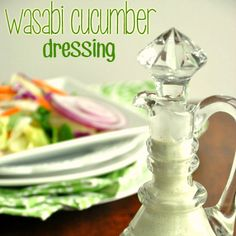 Zesty wasabi and cool cucumbers are the perfect pairing in this delicious homemade salad dressing! It's great as a veggie dip too!
