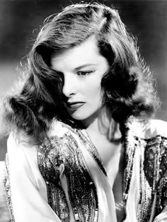 """Katharine Hepburn by George Hurrell, publicity portrait for """"The Philadelphia Story"""", 1940."""