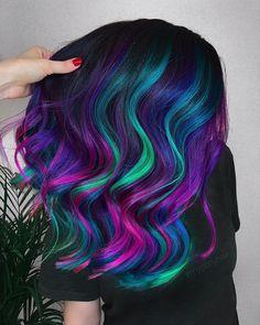 Cute Rainbow Hair Color Ideas For Festival Goers Galaxy Hair Color, Vivid Hair Color, Cute Hair Colors, Pretty Hair Color, Beautiful Hair Color, Hair Color Purple, Hair Dye Colors, Wild Hair Colors, Mermaid Hair Colors