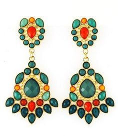 Emerald and Coral Beaded Earrings – Modeets...LOVE these