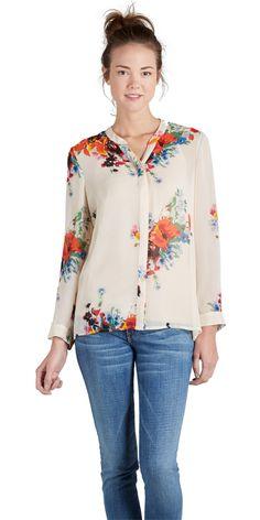 JOIE Devitri Blouse New Moon | Collarless Silk Shirt