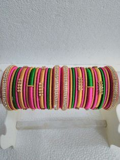 Pink and green Silk Thread designer Bangles