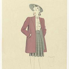 Vrouw met roze mantel, ca. 1942, No. 3955, anoniem, ca. 1942 - Rijksmuseum