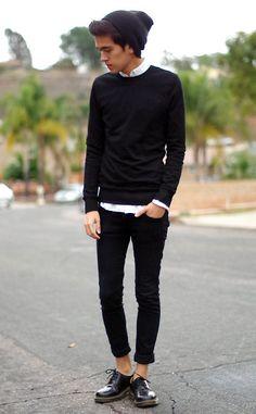 White shirt, black top / H&M Sweatshirt, Cos Shirt, H&M Skinny Jeans…
