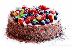 Chocolate Cake, Decorated With Fruits Stock Image - Image of decorated, torta: 20293709 Food Cakes, Cupcake Cakes, Cupcakes, Bolo Vegan, Vegan Cake, Chocolates, Fondant, Cake Recipes, Dessert Recipes