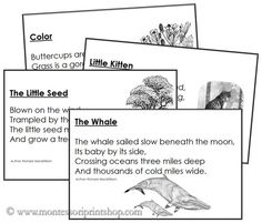 10 Free Short Poems Montessori Language Materials