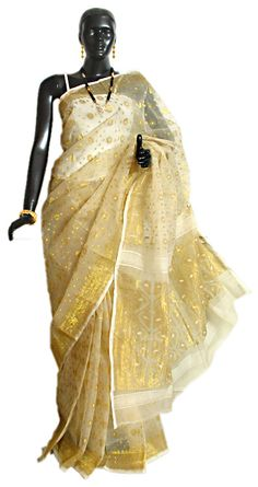 Off White Dhakai Saree with Golden Woven Border, Pallu and Boota All-Over (Cotton))