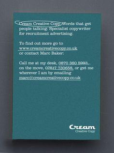 Cream Creative Copy postcard